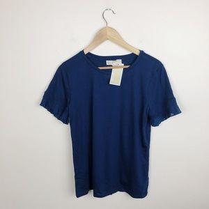 NWT Michael Kors medium true Navy blue fringe top